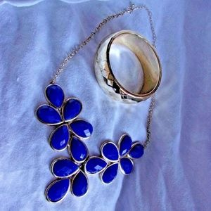 jewelry set chic navy blue and faux gold bracelet